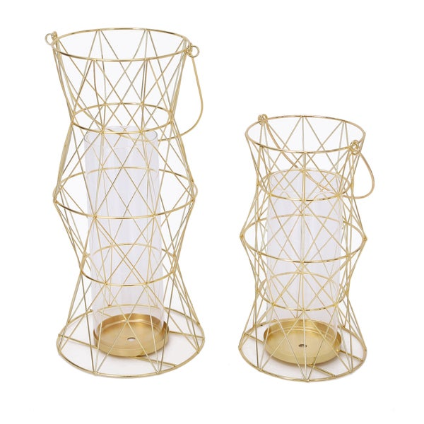 2017 New Adeco Golden Lantern Iron and Glass Candle Holder (Set of 2)