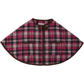 Rockin Baby Girls' Pink Cotton-blend Checked Cape