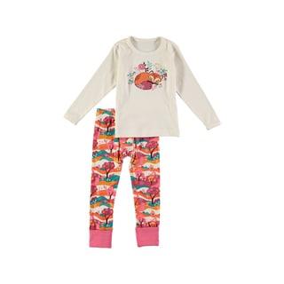 Rockin Baby Girls' Fox Applique White Cotton Pajama Set
