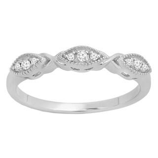 10k Gold 1/10ct TDW Round White Diamond Vintage Style Milgrain Wedding Band (I-J, I2-I3)