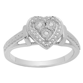 Sterling Silver Round-cut Diamond Accent 3-stone Bridal Heart Ring (I-J, I2-I3)