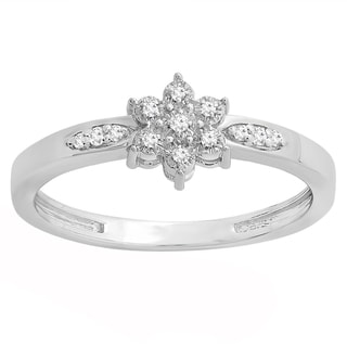 Sterling Silver 1/10ct TDW Round White Diamond Bridal Cluster Promise Engagement Ring (I-J, I2-I3)