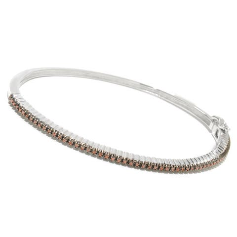 Sterling Silver 1/2ct TDW Red Diamond Stackable Bangle Bracelet