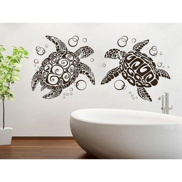 Sea Turtle Ocean Animals Vinyl Sticker Interior Home Decor Family Bedroom Bathroom Decal Size
