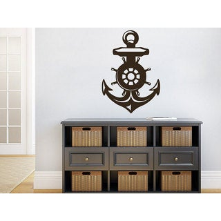 Nautical Ship Ocean Sea Nursery Anchor Living Room Home Decor Art Bedroom Sticker Decal size 48x65 Color Black - 48 x 65