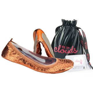 Fit In Clouds Women's Bronze Patent Leather Foldable Flats