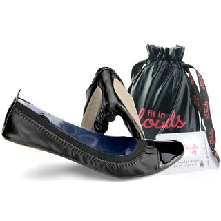 Fit In Clouds Black Patent Leather and Rubber Portable Flats