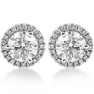 18k White Gold 1.65 ct TDW Diamond Halo Studs