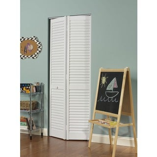 Seabrooke 30-in x 80-in White PVC Louvered Bifold Door