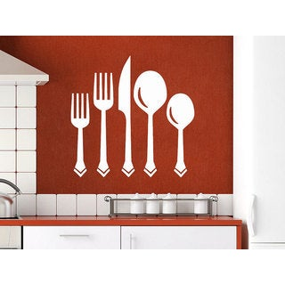 Knife Fork Spoon Vintage Pattern Cutlery Dining Room Cafe Kitchen Decor Sticker Decal size 22x26 Col