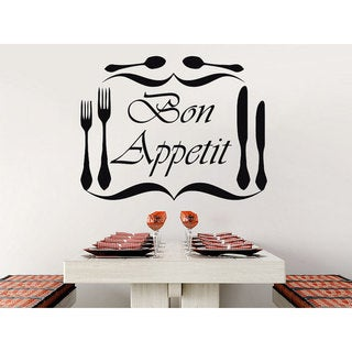 Link to Bon Appetit Vinyl Sticker Decals Knife Fork Spoon Cutlery Dining Room Cafe Kitchen Decor Sticker Decal size 22x26 Color Black Similar Items in Art Prints