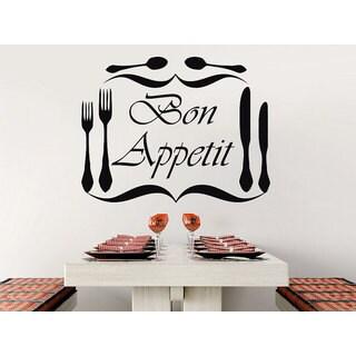 Bon Appetit Vinyl Sticker Decals Knife Fork Spoon Cutlery Dining Room Cafe Kitchen  Decor Sticker Dec