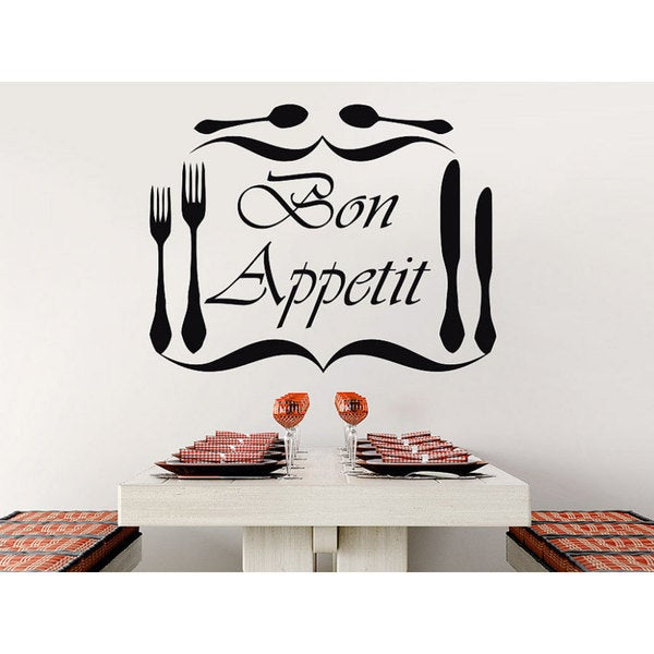 Bon Appetit Vinyl Sticker Decals Knife Fork Spoon Cutlery Dining Room Cafe Kitchen  Decor Sticker Decal