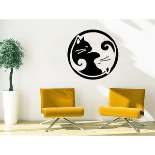 Symbol Yoga Cat Animals Petshop Grooming Salon Vinyl Sticker Decal size 48x48 Color Black