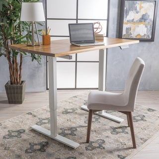 Jefferson 55-inch Acacia Wood Desk with Adjustable Height and Dual Powered Base by Christopher Knight Home
