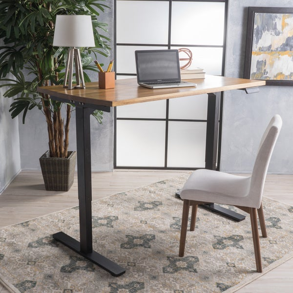 Jefferson 58-inch Acacia Wood Desk with Adjustable Height and Dual Powered Base by Christopher Knight Home