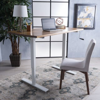 Jenson 58-inch Acacia Wood Desk with Adjustable Height and Manual Base by Christopher Knight Home