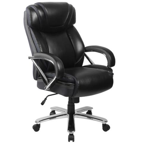 Santoro Big & Tall Black Leather Executive Adjustable Swivel Office Chair with Wide Cushioned Seat and Padded Arms