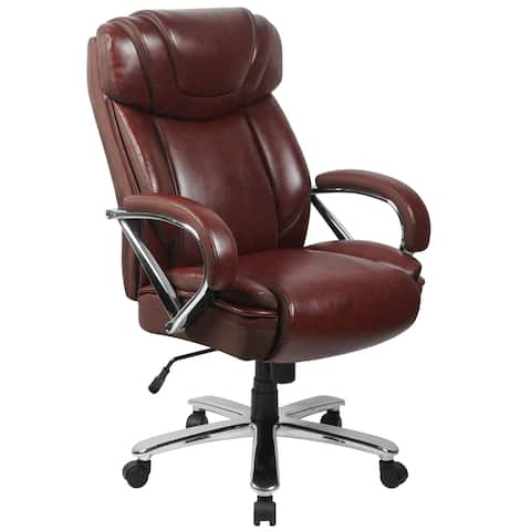 Santoro Big & Tall Brown Leather Executive Adjustable Swivel Office Chair with Wide Cushioned Seat and Padded Arms