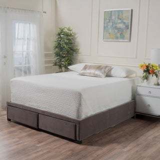 Wednesday Upholstered Fabric California King Bed Frame with Drawers by Christopher Knight Home