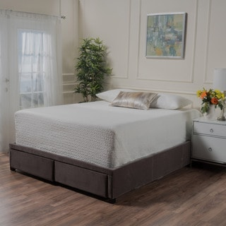 Wednesday Upholstered Fabric Full Bed Frame with Drawers by Christopher Knight Home