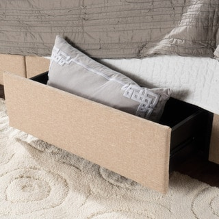 Wednesday Upholstered Fabric Queen Bed Frame with Drawers by Christopher Knight Home