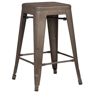 Edgemod Trattoria Brown Metal 24-inch Counter Stool (Set of 2)
