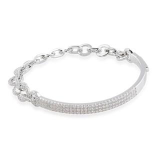 Pave Link Bar Bracelet - Silver