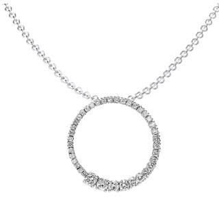 14k White Gold 1ct TDW Round Diamond Graduating Circle Journey Pendant (I-J, I1-I2)