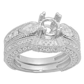 14k Gold 7/8ct TDW Pear and Round Diamond Antique Vintage Look Semi Mount Bridal No Center Stone Ring Set (I-J, I1-I2)