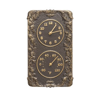 White Hall Acanthus Combo Clock And Thermomter - French Bronze