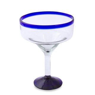 Handmade Eco Friendly Set of Six Handmade Margarita Glasses, 'Cobalt Contrasts' (Mexico)