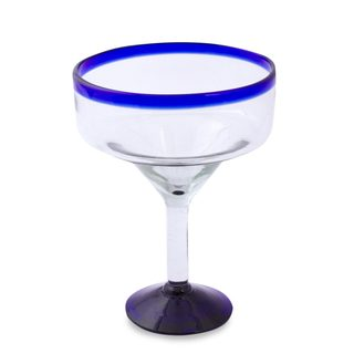 Eco Friendly Set of Six Handmade Margarita Glasses, 'Cobalt Contrasts' (Mexico)