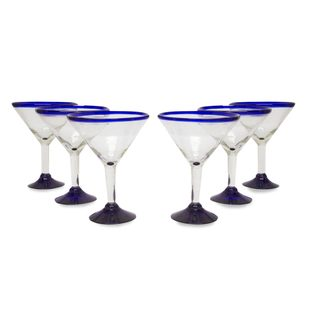 Eco Friendly Set of Six Hand Blown Martini Glasses, 'Cobalt Contrasts' - Mexico
