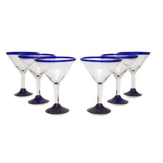 Handmade Eco Friendly Set of Six Handmade Martini Glasses, 'Cobalt Contrasts' (Mexico)
