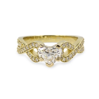 14K Yellow Gold 1ct TDW White Diamond GIA Certified Heart Intertwined Engagement Ring