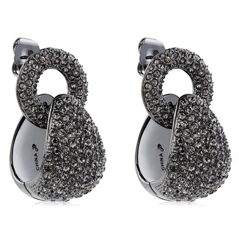 Pave Crystal Door Knocker Style Dangle Hoop Earrings