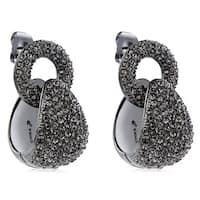 Pave Crystal Door Knocker Style Dangle Hoop Earrings