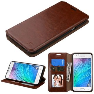 Insten Brown Leather Case Cover with Stand/ Wallet Flap Pouch/ Photo Display For Samsung Galaxy J7 (2015)