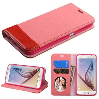 Insten Pink/ Red Leather Case Cover with Stand/ Wallet Flap Pouch/ Photo Display For Samsung Galaxy S6