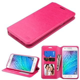 Insten Hot Pink Swivel Leather Case Cover with Stand/ Wallet Flap Pouch/ Photo Display For Samsung Galaxy J7 (2015)