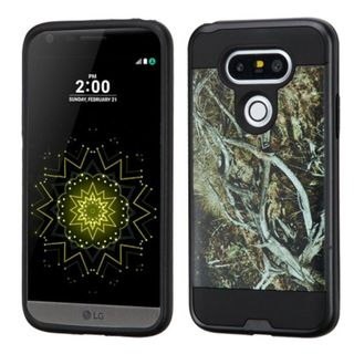 Insten Yellow/ Black Vines Hard PC/ Silicone Dual Layer Hybrid Rubberized Matte Case Cover For LG G5