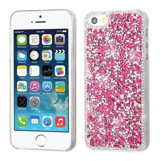 Insten Hot Pink Hard Snap-on Diamond Bling Case Cover For Apple iPhone 5/ 5S/ SE