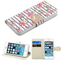 Insten Pink/ White Fresh Roses Leather Case Cover with Stand/ Wallet Flap Pouch/ Diamond For Apple iPhone 5/ 5S/ SE