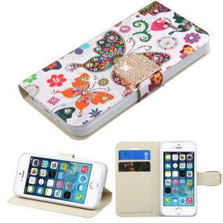 Insten Colorful Butterfly Leather Case Cover with Stand/ Wallet Flap Pouch/ Diamond For Apple iPhone 5/ 5S/ SE