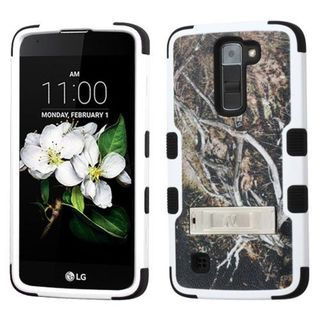 Insten Yellow/ Black Vines Tuff Hard PC/ Silicone Dual Layer Hybrid Rubberized Matte Case Cover with Stand For LG K7