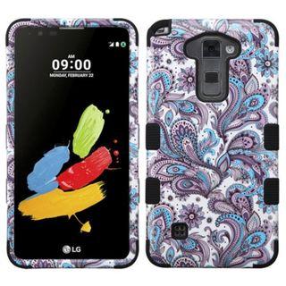 Insten Purple/ White European Flowers Tuff Hard PC/ Silicone Dual Layer Hybrid Case Cover For LG Stylo 2/ Stylus 2