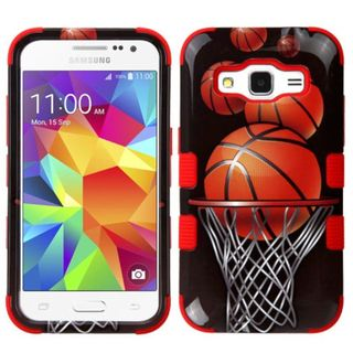 Insten Black/ Orange Basketball Hoop Tuff Hard PC/ Silicone Dual Layer Hybrid Case Cover For Samsung Galaxy Core Prime