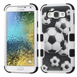 Insten Black/ White Soccer Ball Collage Hard PC/ Silicone Dual Layer Hybrid Rubberized Matte Case Cover For Samsung Galaxy E5