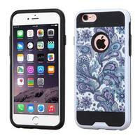 Insten Purple/ White European Flowers Hard PC/ Silicone Dual Layer Hybrid Case Cover For Apple iPhone 6 Plus/ 6s Plus